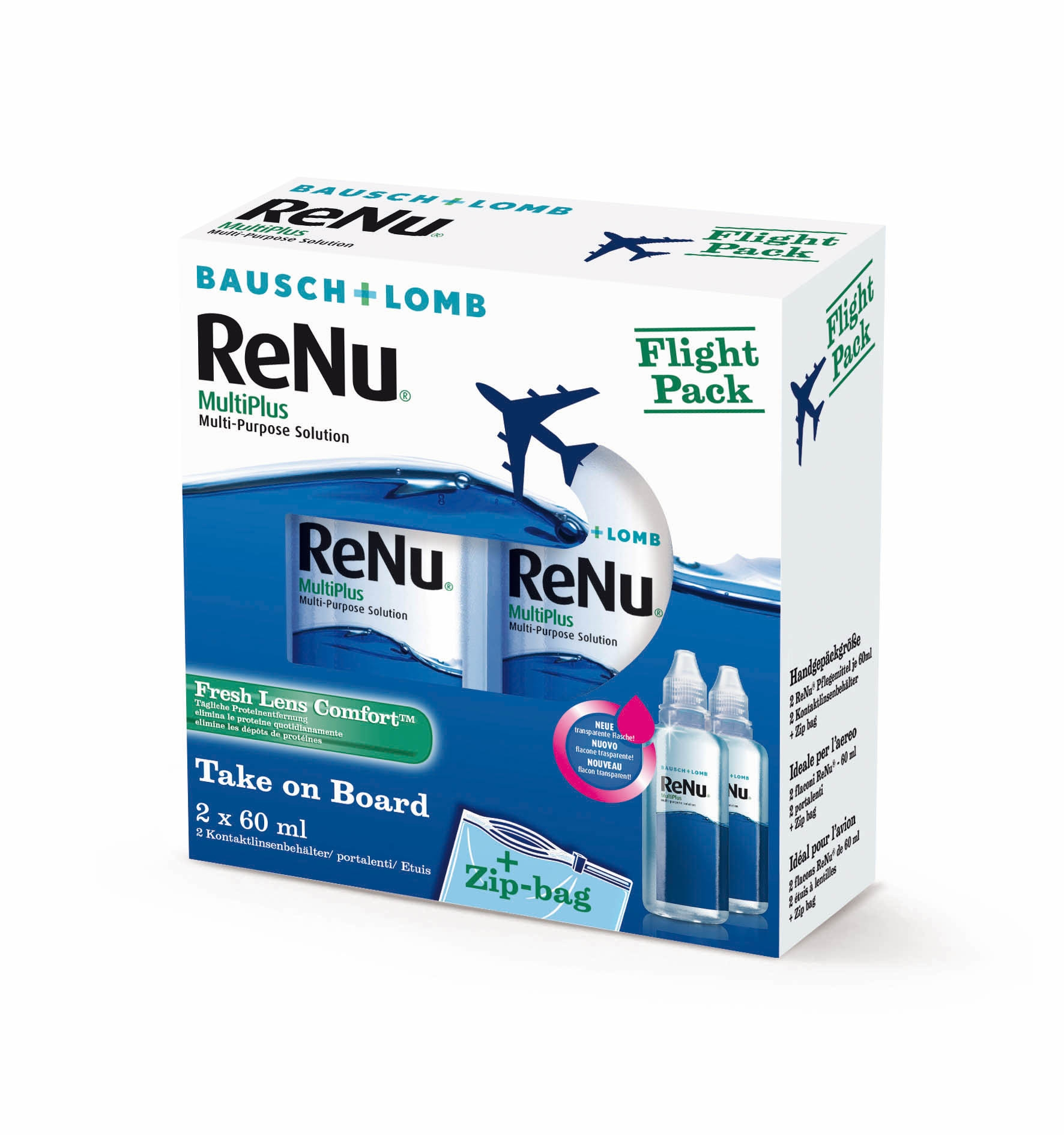 ReNu Multiplus Fresh Lens Comfort Flight Pack, Bausch & Lomb (2 x 60 ml)