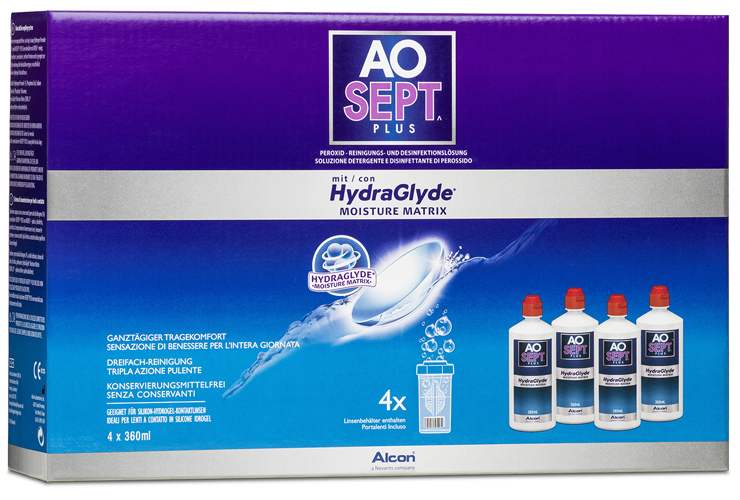 AOSEPT Hydraglyde Systempack, Alcon (4 x 360 ml)