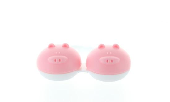 Kontaktlinsenbehälter Schwein pink
